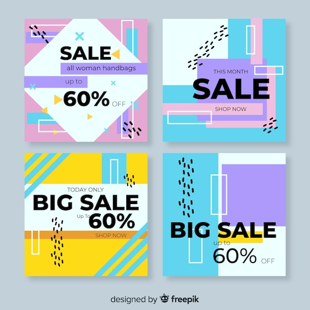 Colorful abstract sale instagram post collection Free Vector