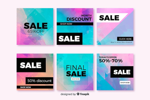Colorful abstract sale instagram post group Free Vector