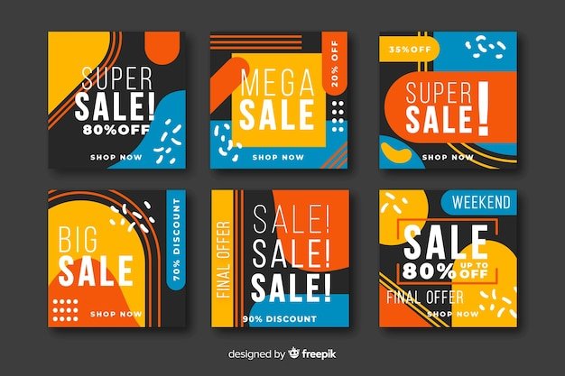 Colorful abstract sale instagram post Free Vector