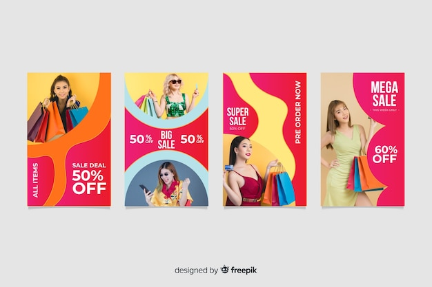 Colorful abstract sale instagram stories collection Free Vector