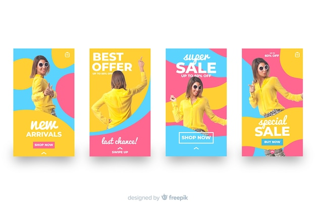 Colorful abstract sale instagram stories set Free Vector