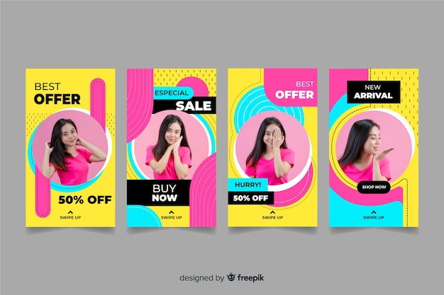 Colorful abstract sale instagram stories with image Free Vector
