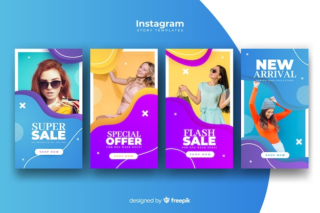 Colorful abstract sale instagram stories with photo Free Vector