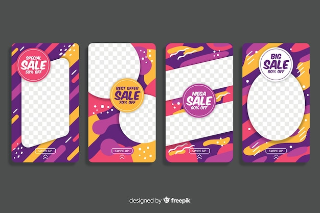 Colorful abstract sale instagram stories Free Vector
