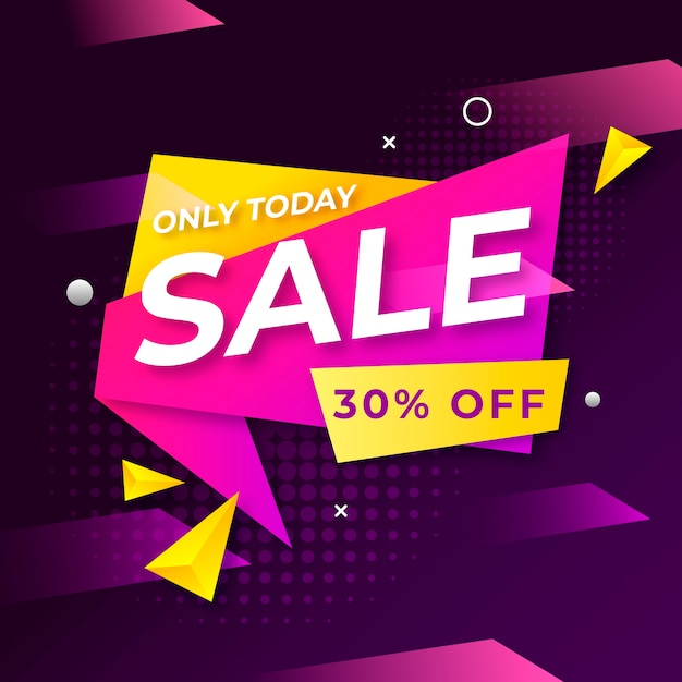 Colorful abstract sales banner Free Vector