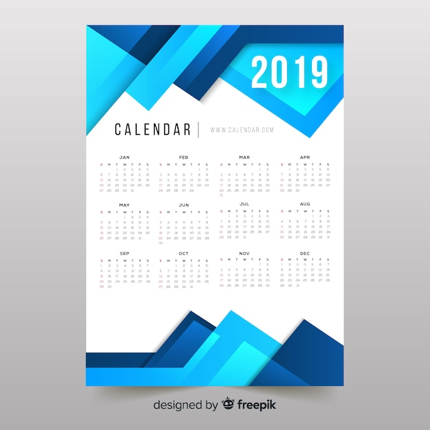 Colorful abstract shapes 2019 calendar Free Vector