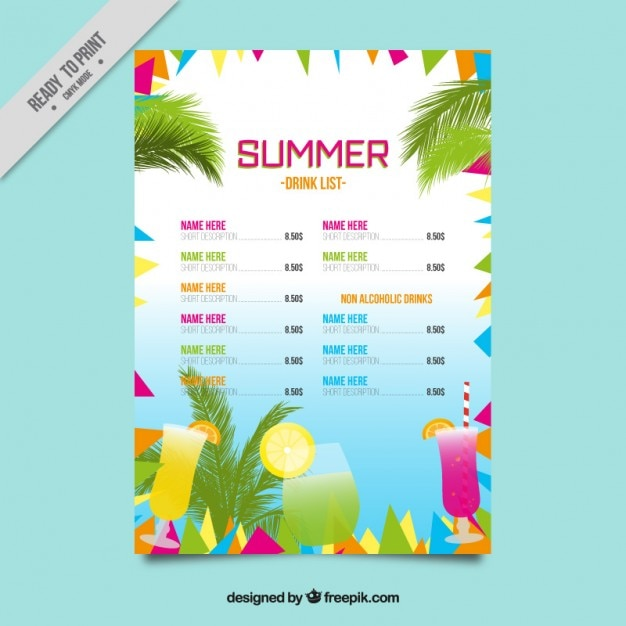 Colorful abstract summer drink list\ template