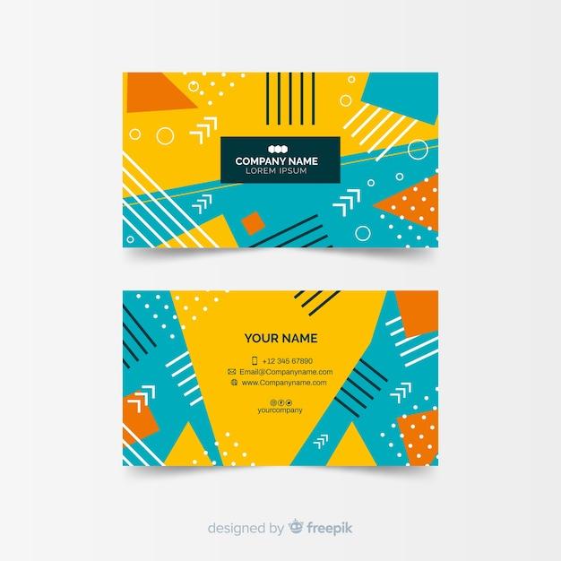 Красочный абстрактный шаблон визитной карточки в стиле мемфис Бесплатные векторы