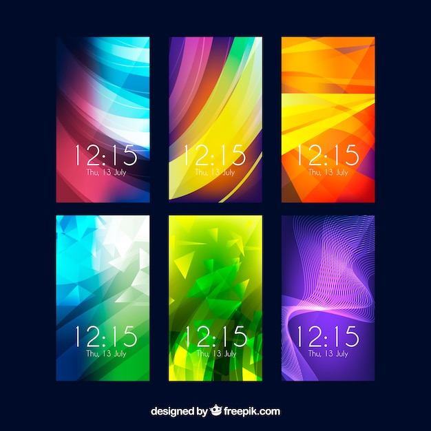 Colorful Abstract Wallpaper Pack For Mobile Phone Free Vector