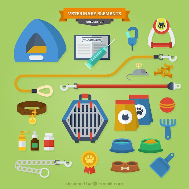 Colorful accessories for pets Free Vector