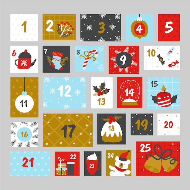 Colorful advent calendar in flat design Free Vector
