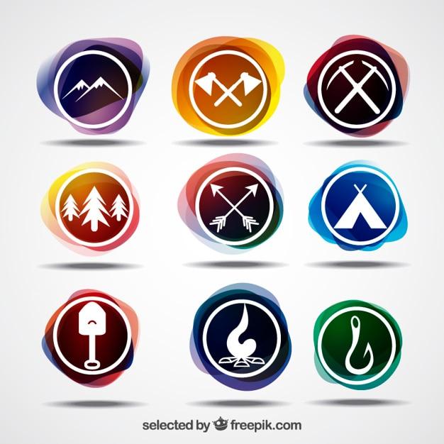 Colorful adventure logos Free Vector