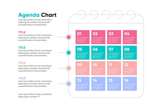 Colorful agenda chart infographic Free Vector