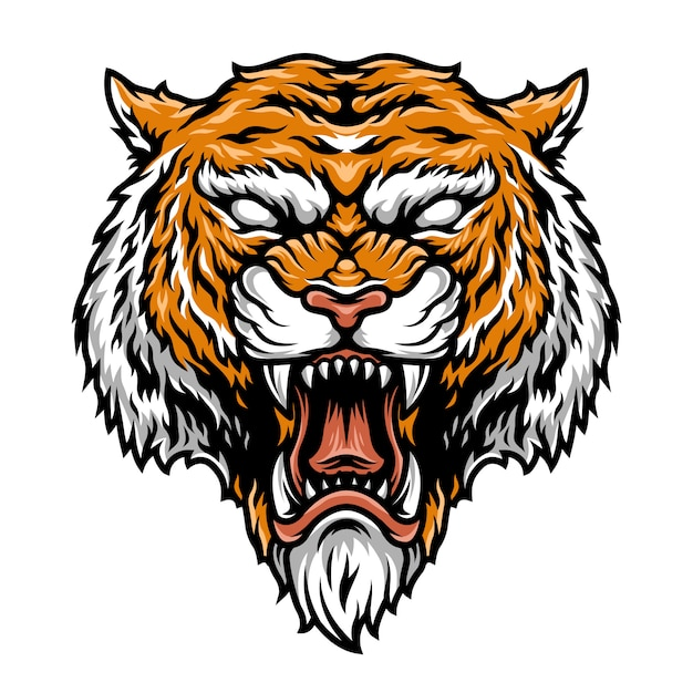 Colorful aggressive strong tiger head Free Vector