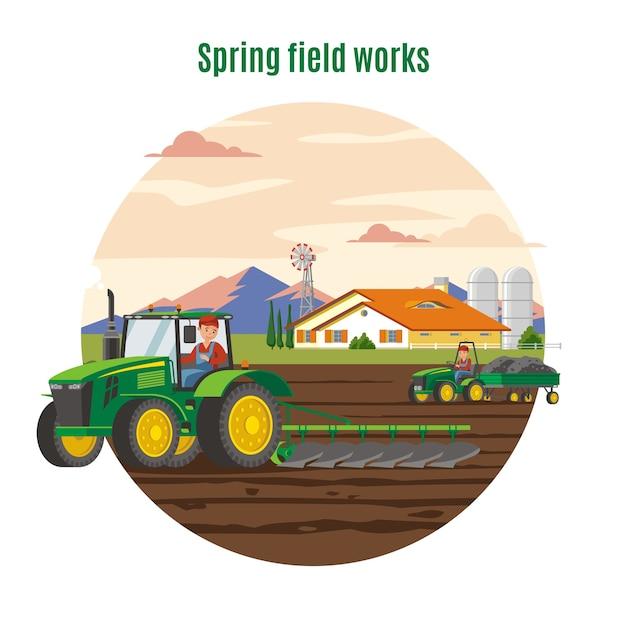 Colorful agricoltura e concetto di allevamento Vettore gratuito