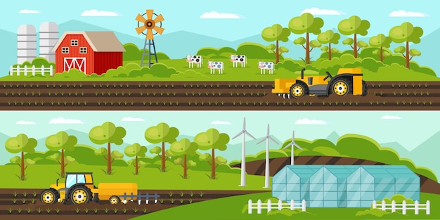 Colorful agriculture horizontal banners Free Vector