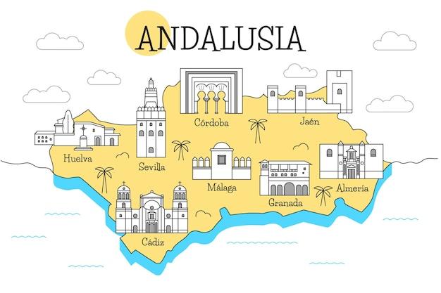 Mappa di ahmedabad colorato con punti di riferimento Vettore gratuito