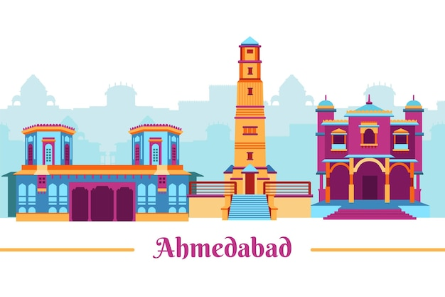 다채로운 ahmedabad 스카이 라인 그림 무료 벡터