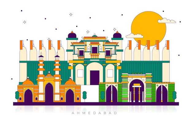 Punto di riferimento variopinto dell'orizzonte di ahmedabad Vettore gratuito