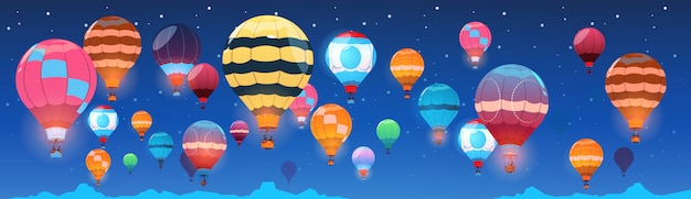Colorful air balloons flying in night sky banner Premium Vector
