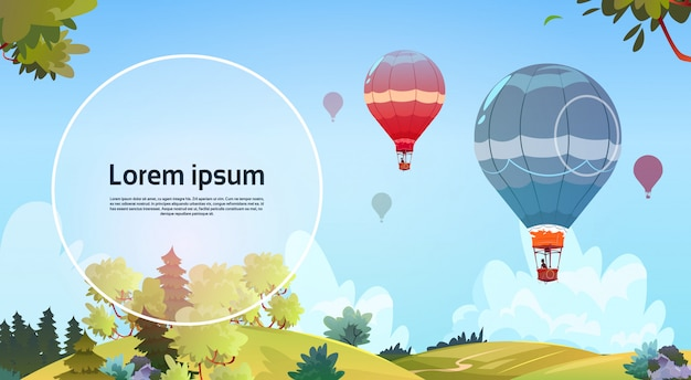 Colorful air balloons flying in sky over summer landscape Premium Vector