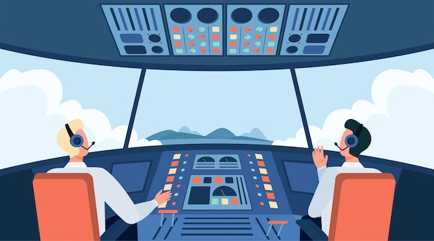 Colorful airplane cockpit isolated flat vector illustration. two cartoon pilots sitting inside plane cabin in front of control panel. flight crew and aircraft concept Free Vector