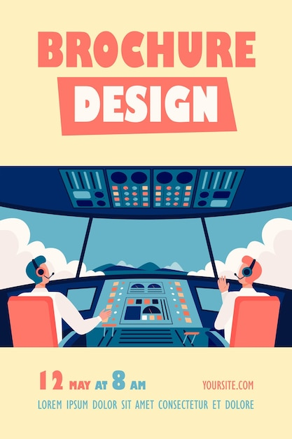 Colorful airplane cockpit isolated flyer template Free Vector