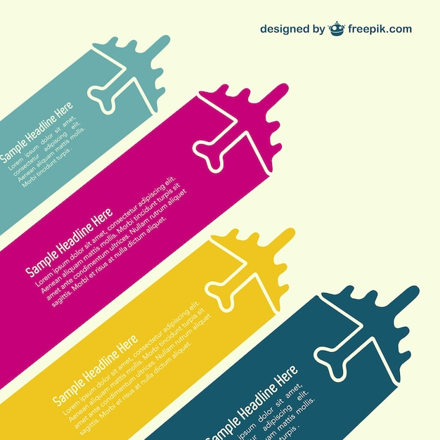 Colorful airplanes infographic Free Vector
