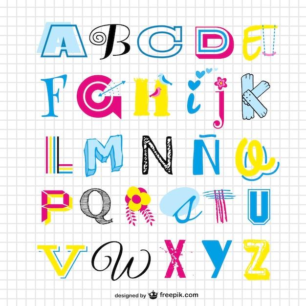 Colorful alphabet set Free Vector