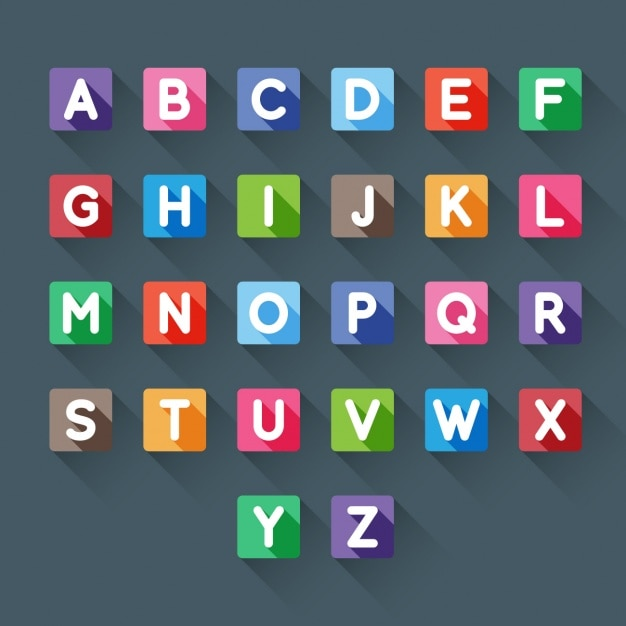 Colorful alphabet in square Vector   Free Download