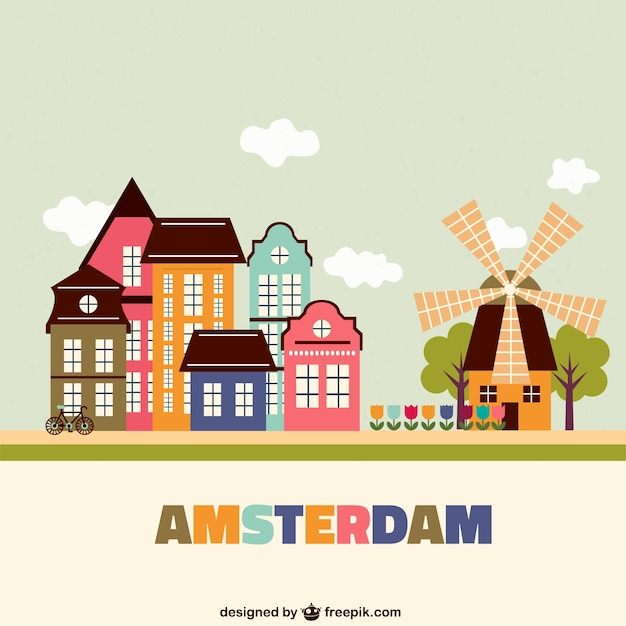 Colorful amsterdam architecture Free Vector