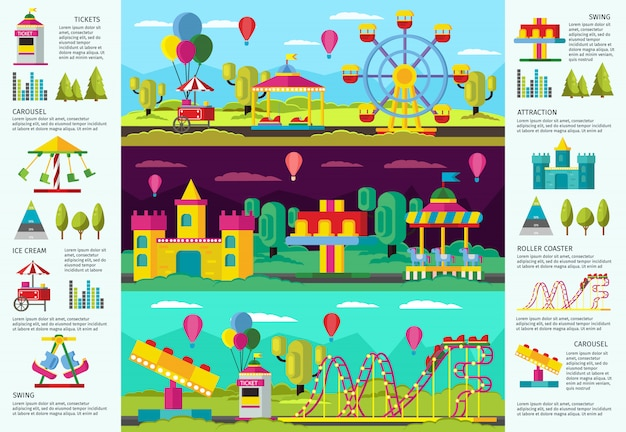 Colorful amusement park infographic banners Free Vector