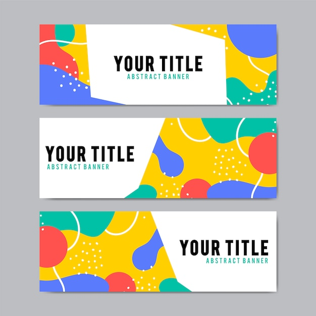 Красочные и абстрактные шаблоны баннерного дизайна Бесплатные векторы