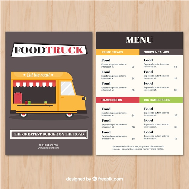 Colorful and elegant food truck menu
