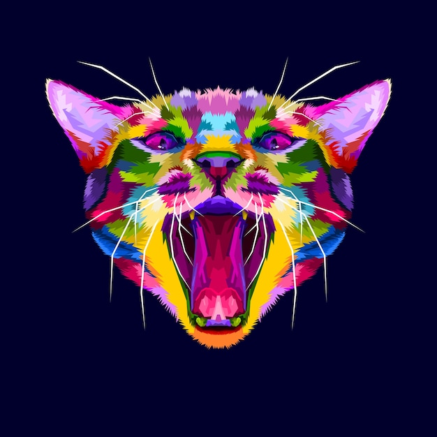 Colorful angry cat head, the cat growls, angry cat close up Premium Vector