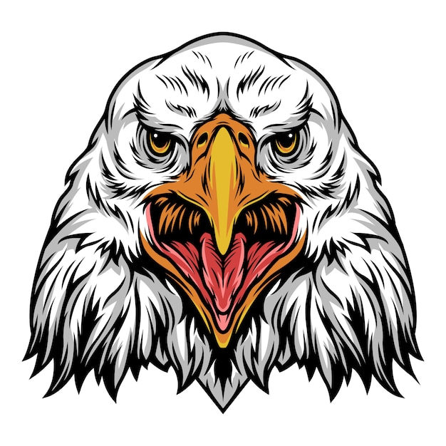 Colorful angry eagle head template Free Vector