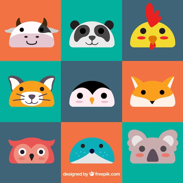 Colorful animal emoticons