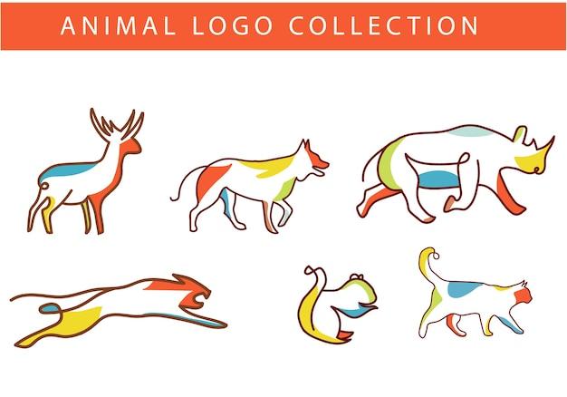 Красочный логотип животных Premium векторы