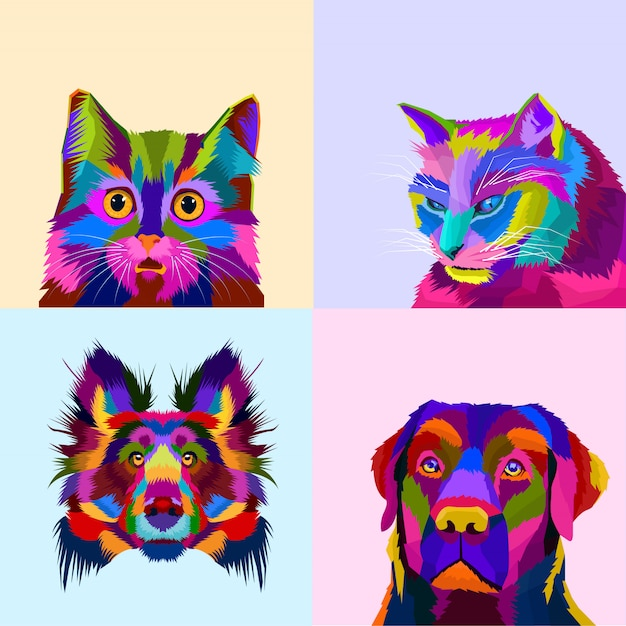 Colorful animal set dog and cat pop art style Premium Vector