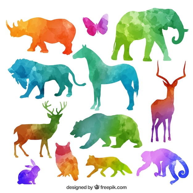 colorful animal silhouettes collection vector free download