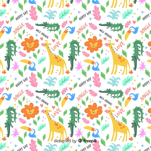 Colorful animals seamless pattern Free Vector