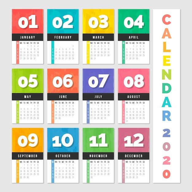 Красочный годовой календарь 2020 Бесплатные векторы