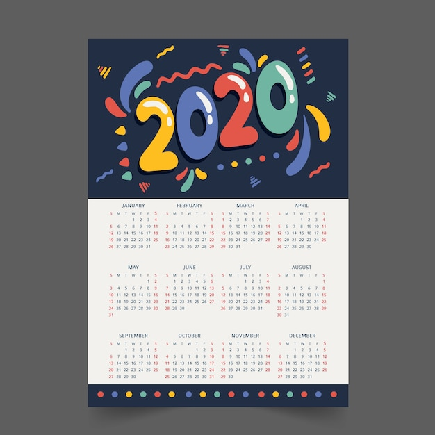 Colorful annual schedule calendar Free Vector
