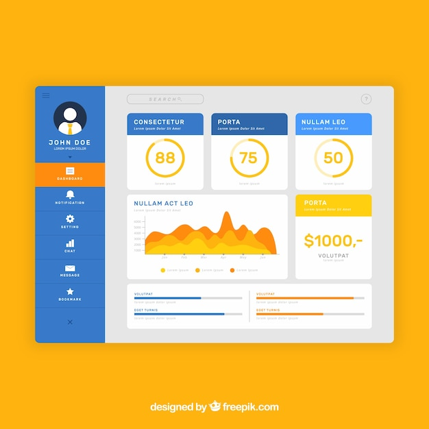 Colorful app dashboard with flat design Free Vector