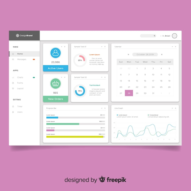 Colorful app dashboard with flat design Vector | Free Download
