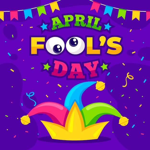 Colorful april fools day background Free Vector