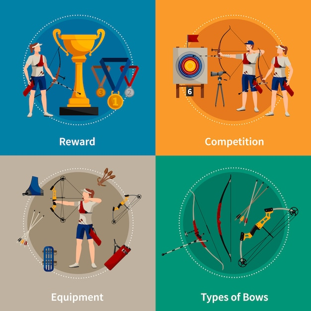Colorful archery flat 2x2 icons set with archers rewards types of bows and equipment Free Vector