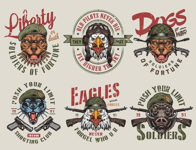 カラフルな軍隊および動物のヴィンテージラベル Premiumベクター