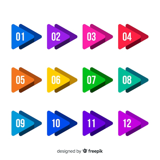 Colorful arrow bullet point collection Free Vector