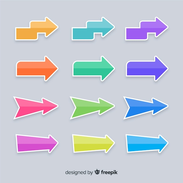Colorful arrow collection presentation template Free Vector